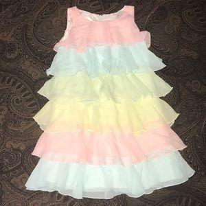 Girls Biscotti pastel colored ruffle dress sz 5